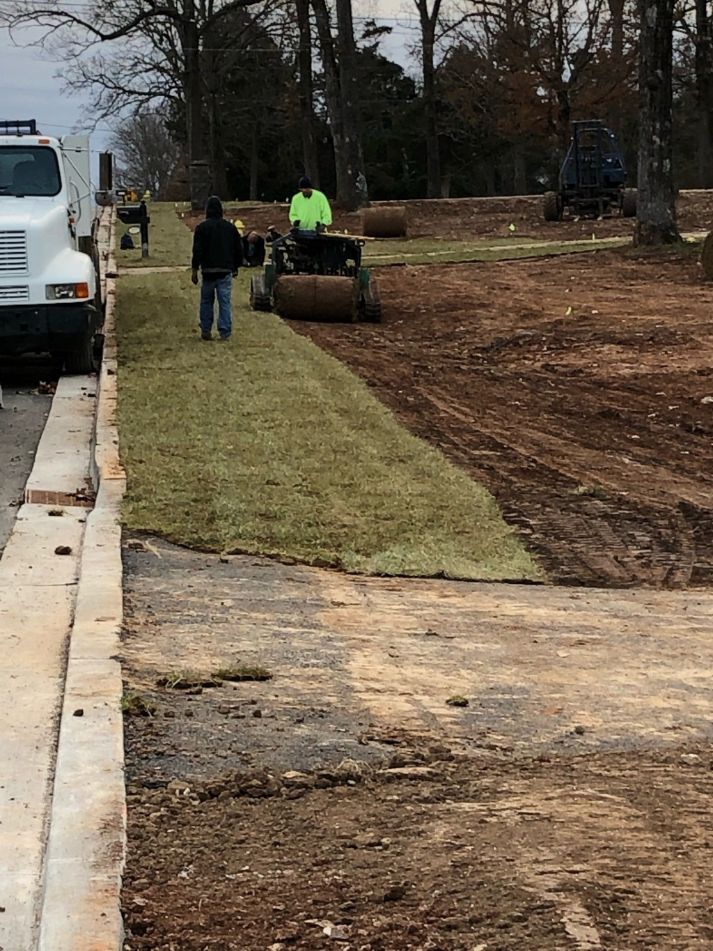 Smallhouse Road Project - December 13, 2018 - Sodding the East Side Right of Way