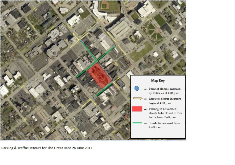 Expected Parking & Detour Impacts for The Great Race Downtown Today
