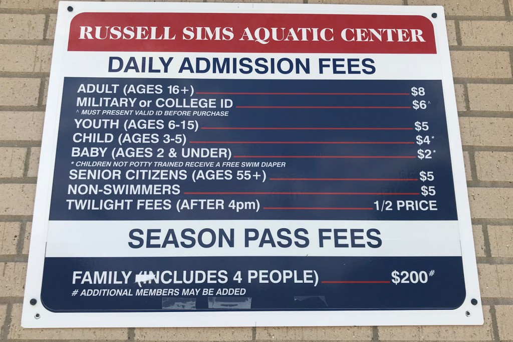 Daily Admission Fees (2019)