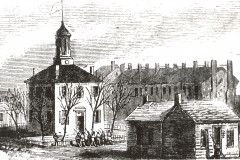 Engraving of 1812 Brick Court House & Log Jail in City Square