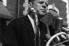 John F. Kennedy speaking on the steps of Bowling Green City Hall on October 8, 1960, while campaigning for President.