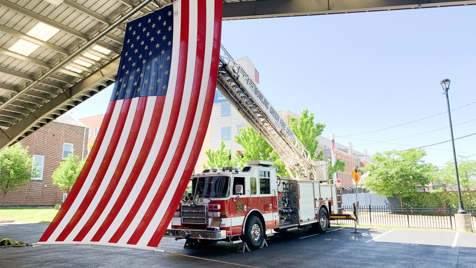 Firetruck with US Flag - Bowling Green Fire Department